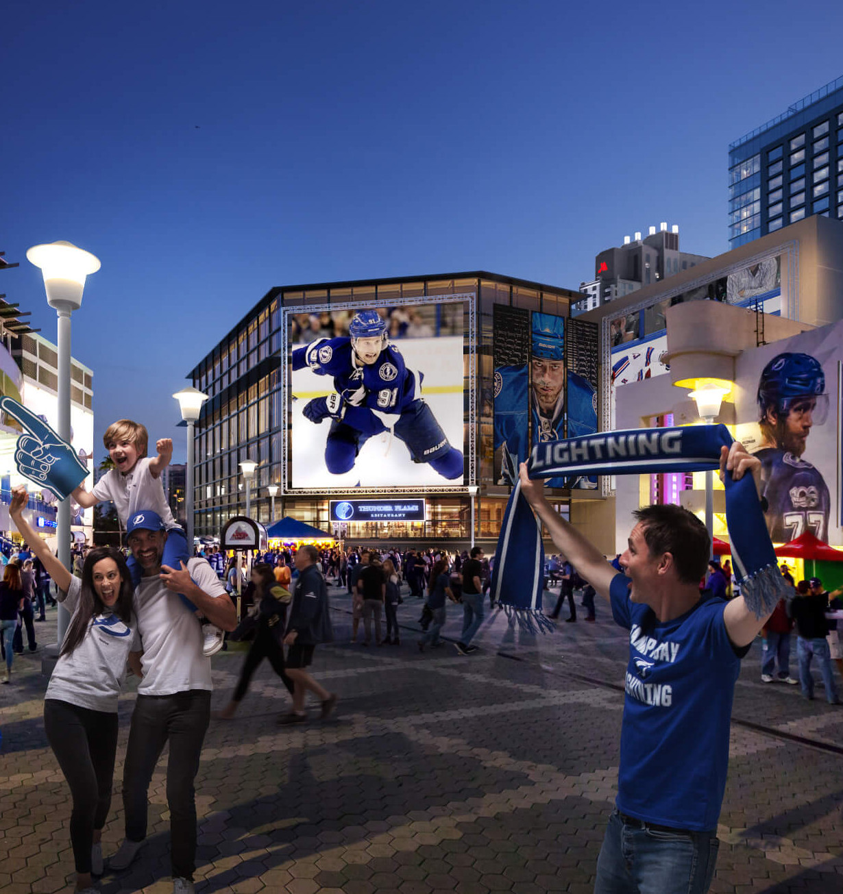 rendering of people in a town square celebrating the Tampa Bay Lightning hockey team